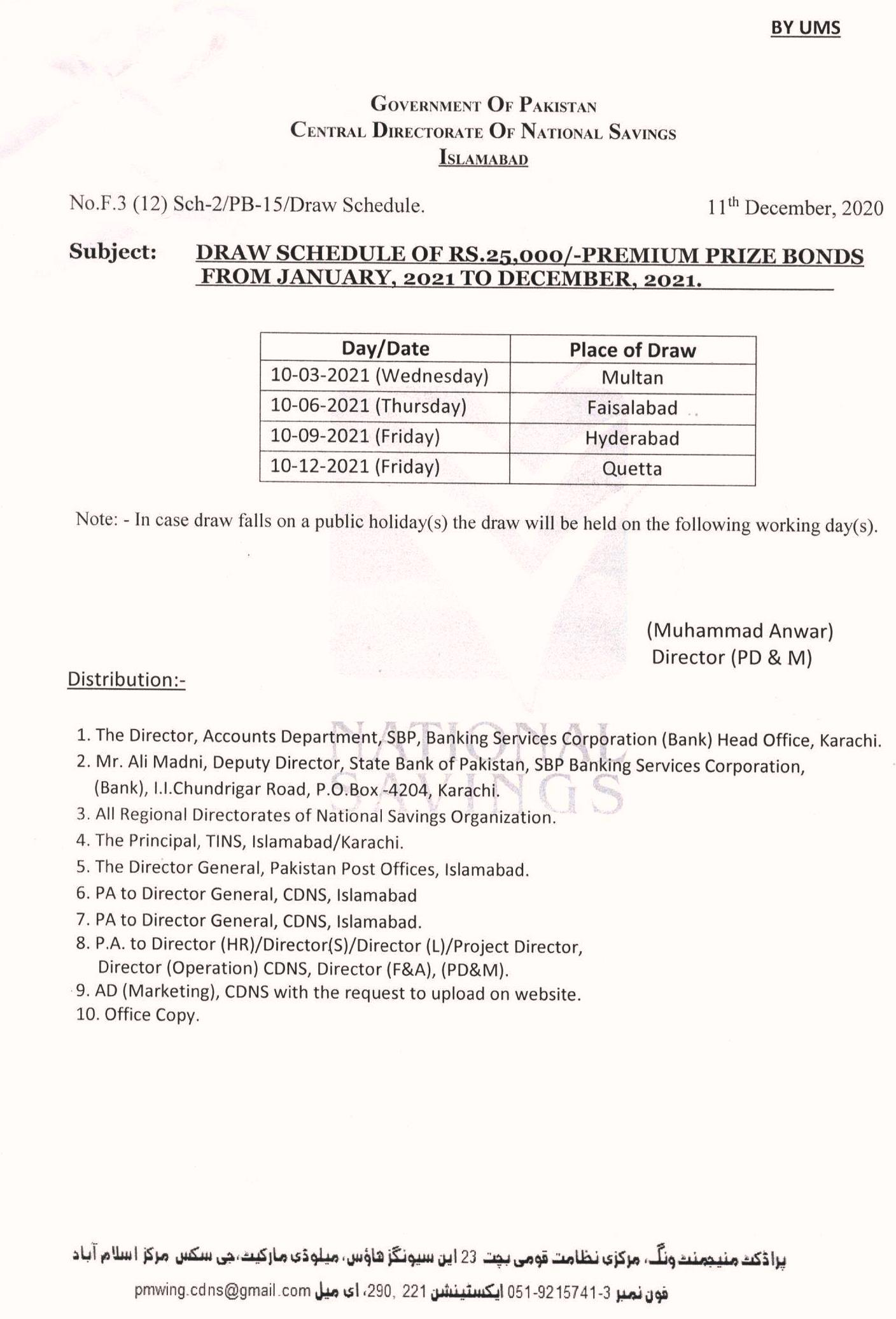 Rs.25000 Premium Prize bond Draw Schedule 2021