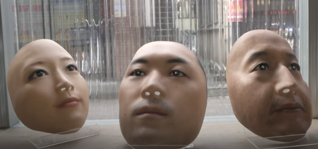 Lifelike replicas of people's faces displayed for Sale