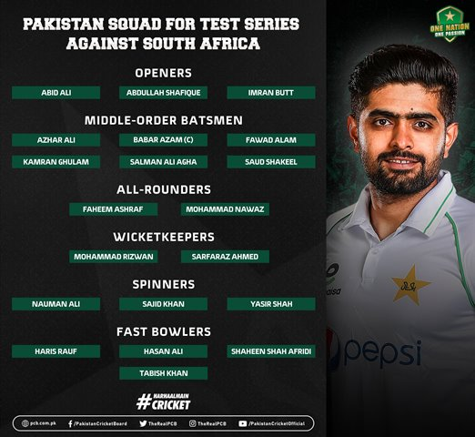 Pakistan Squad for Test Series Against South Africa