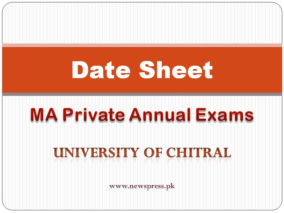 Chitral University UOCH Date Sheet MA Private Exams 2020