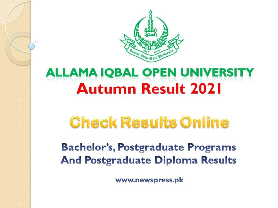 Allama Iqbal Open University AIOU Announces Autumn Results 2021