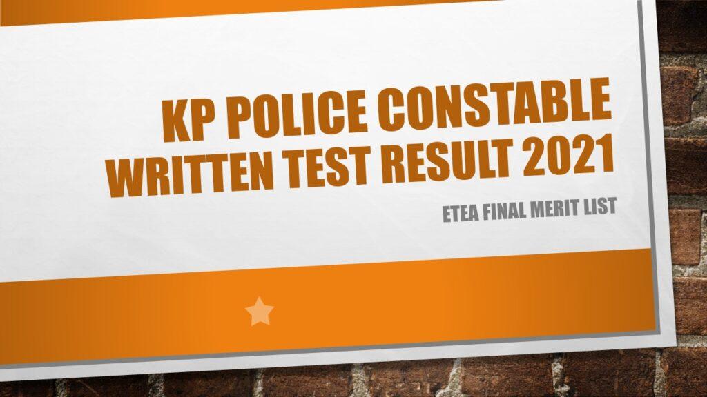 KP Police Constable Written Test Result 2021 ETEA Final Merit List