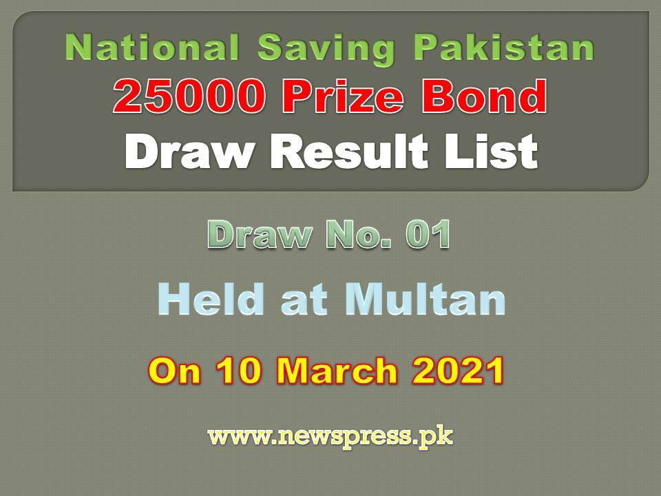 25000 Prize Bond Draw Result List Multan 10 March