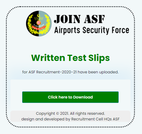 Download ASF Written Test Roll No Slip 2021