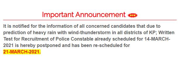 ETEA Police Constable Written Test Schedule 2021