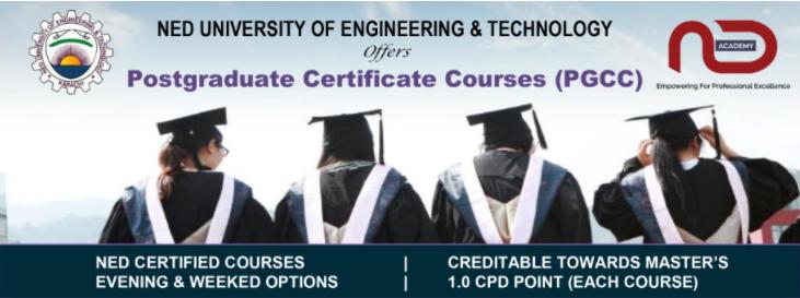 NEDUET Postgraduate Certificate Courses 2021 - Evening/Weekend