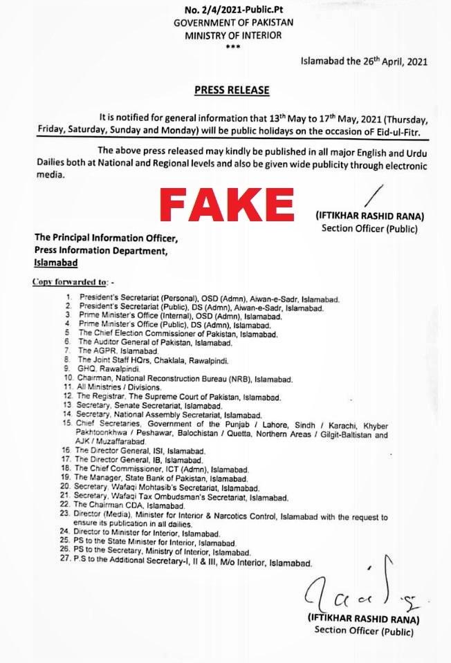 Notification on Eid-Ul-Fitr Holidays 2021 is Fake
