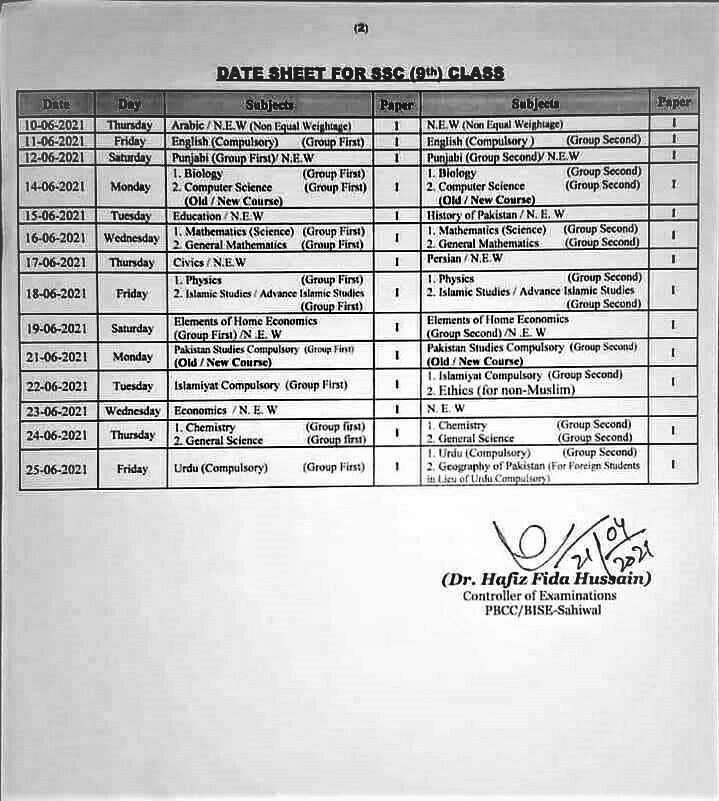 BISE Faisalabad Board 9th 10th Class Date Sheet 2021