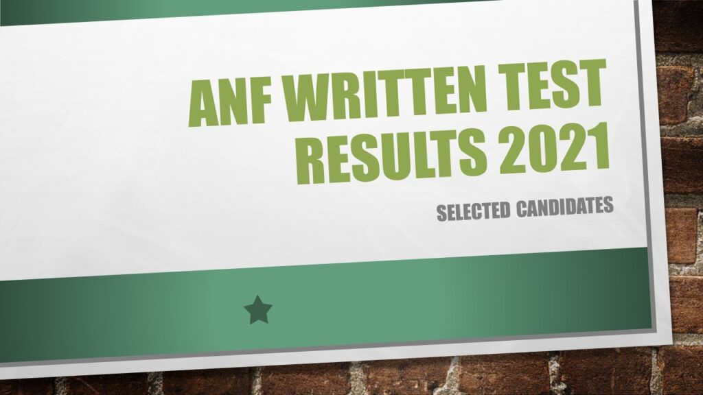 ANF Written Test Result 2021 Selected Candidates