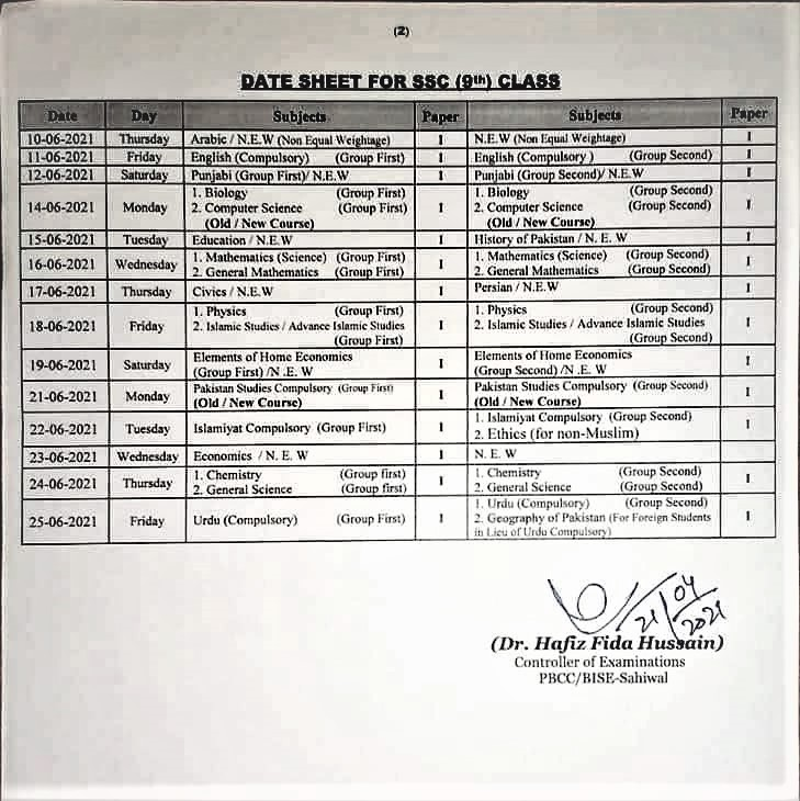 BISE Sargodha Board 9th 10th Class Date Sheet 2021