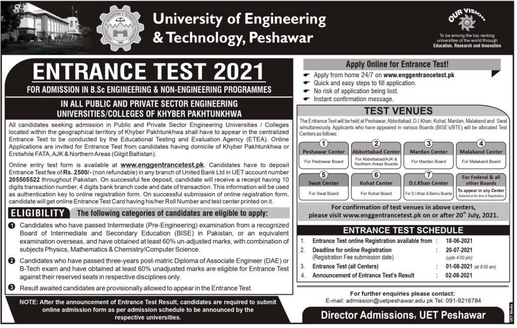 UET Peshawar Entry Test 2021 ETEA Online Registration