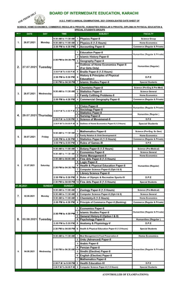 BIEK Karachi Board 12th Class Date Sheet 2021 for All Groups