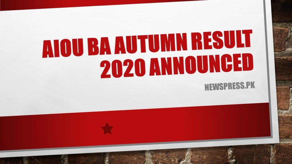 AIOU BA Autumn Result 2020 Announced