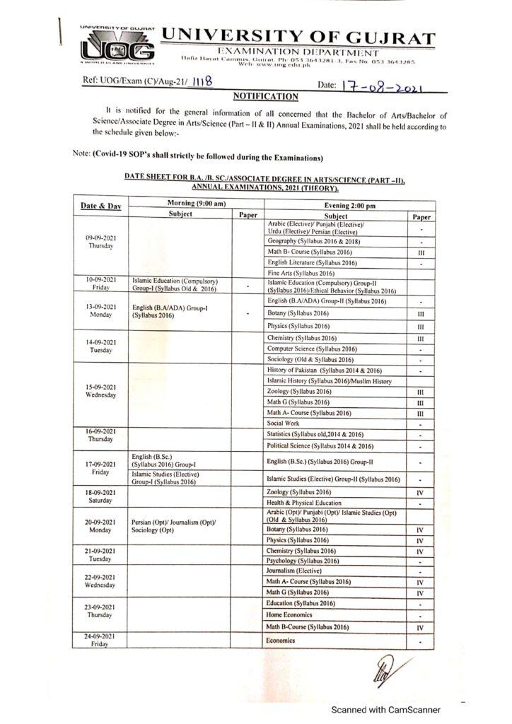 UOG Date Sheet 2021 BA BSc BCom Part 1 & 2 Theory Practical