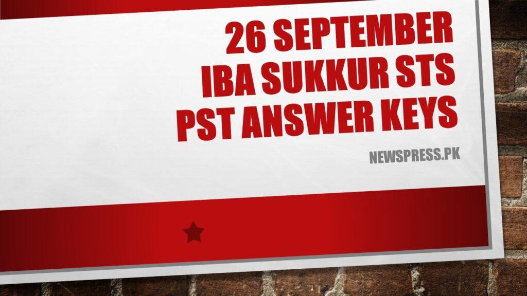 26 September IBA Sukkur STS PST Answer Keys