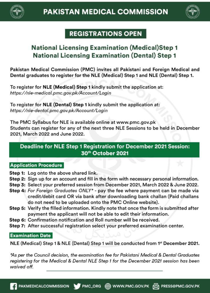 Advertisement for PMC NLE Medical & Dental Step 1 Registration