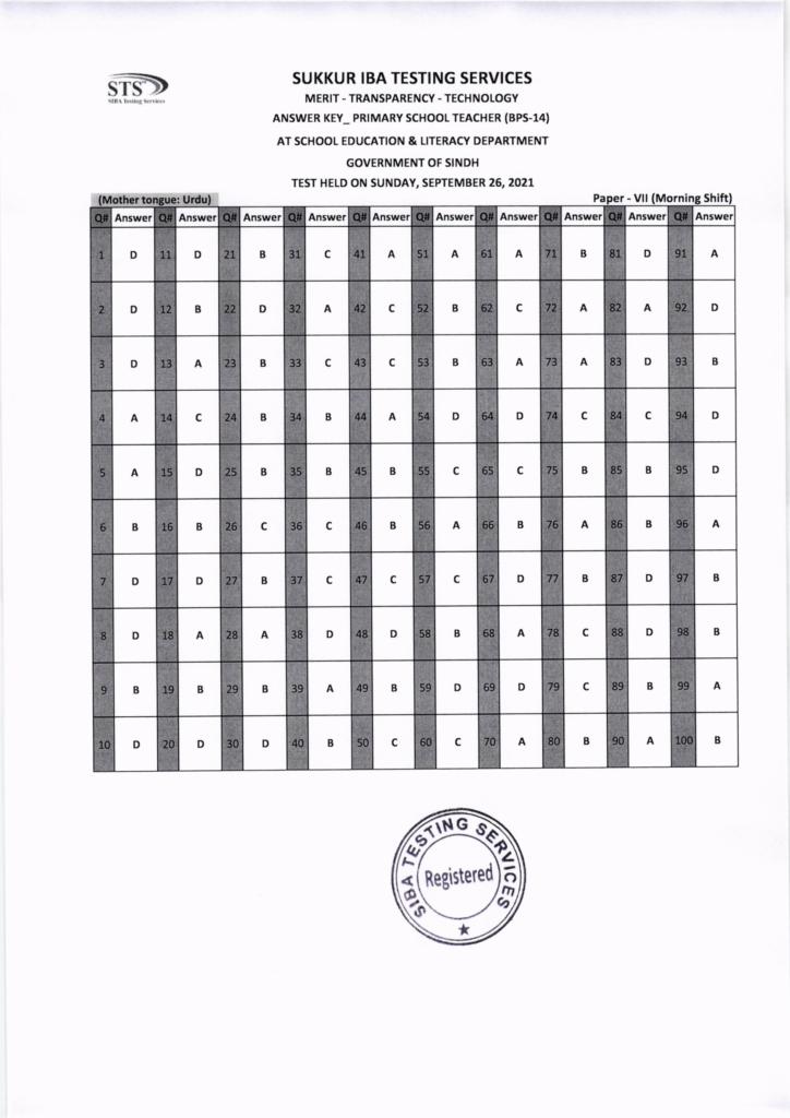 26 September IBA Sukkur STS PST Answer Keys Urdu
