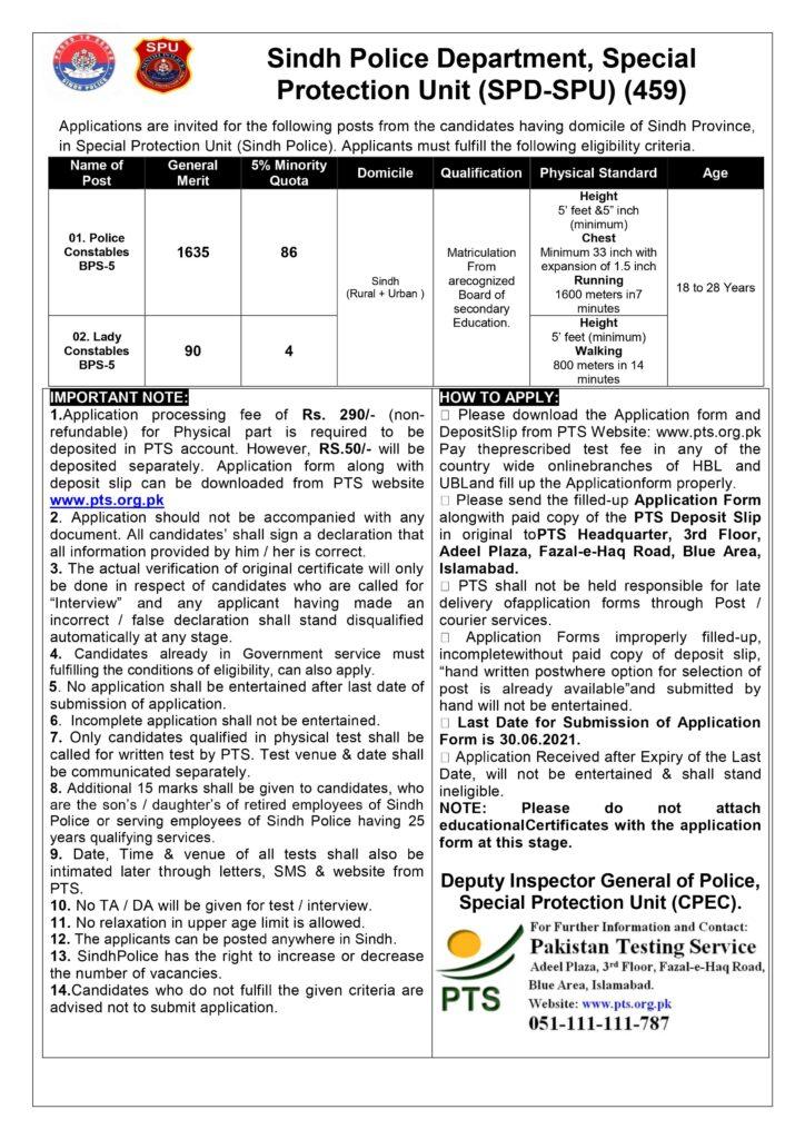 Sindh Police SPU Jobs 2021 Advertisement