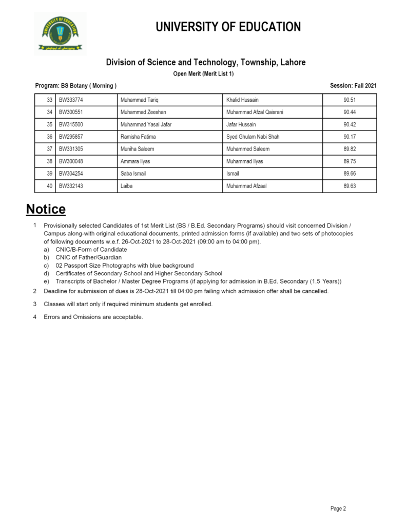 University of Education UE Merit List 2021 Morning & Evening