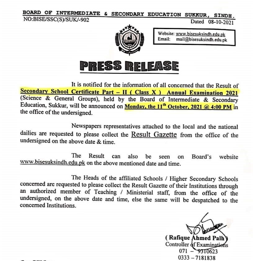 Result Notification by BISE Sukkur 10th Class Result 2021 Search by Name
