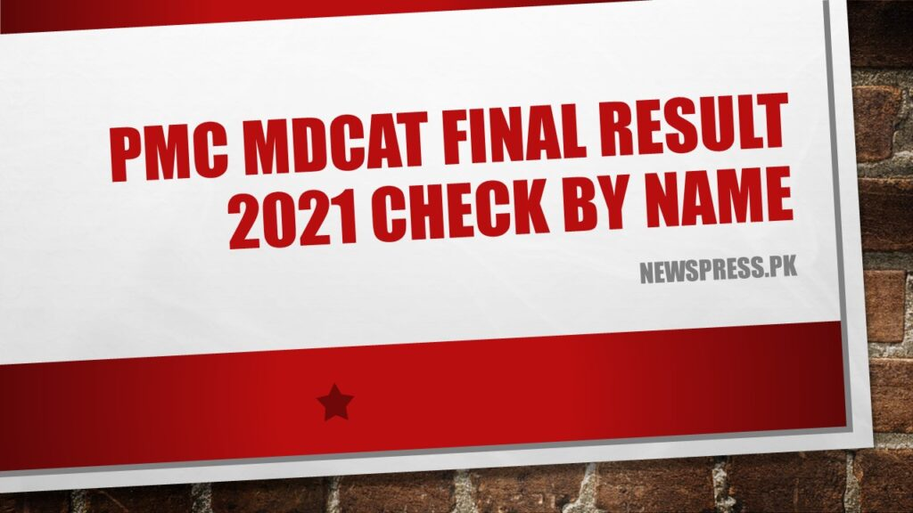 PMC MDCAT Final Result 2021 Check by Name