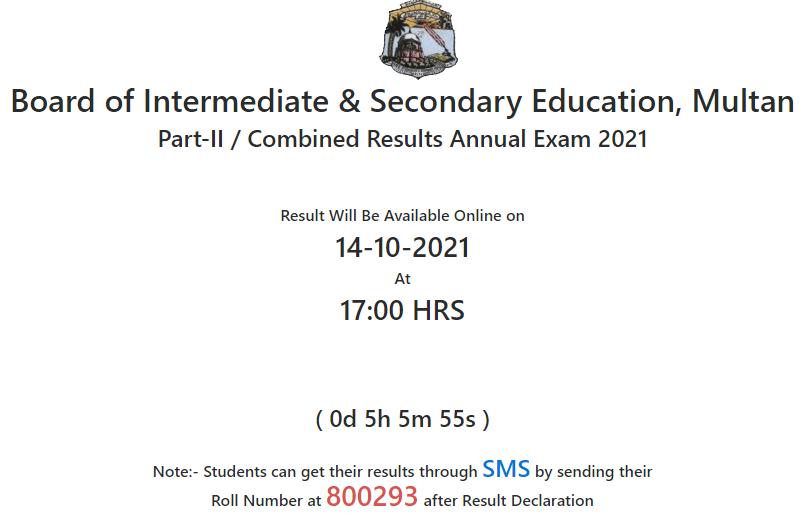 BISE Multan Board Intermediate HSSC 2nd Year 12th class Result 2021