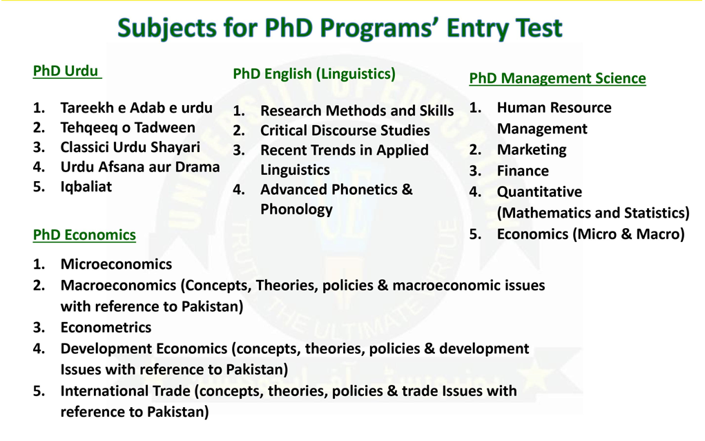 Subjects for PhD Program Entry Test UE