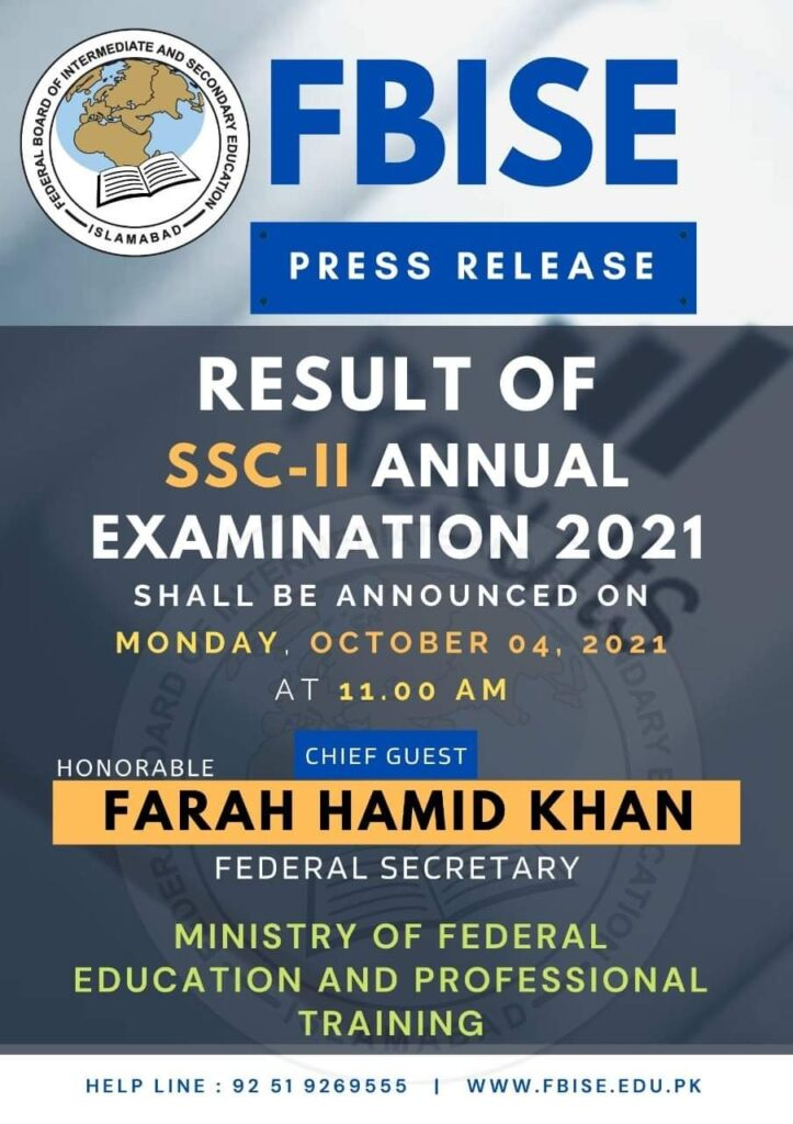 FBISE SSC-II Result 2021 Federal Board 10th Class (SSC 2) announced